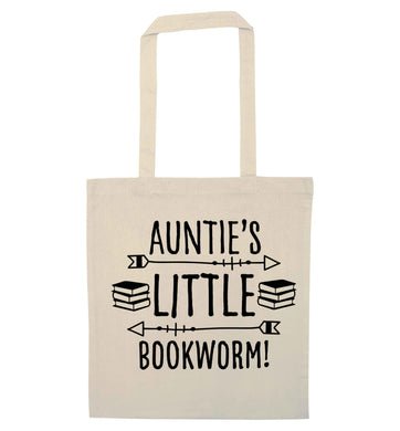 Auntie's little bookworm natural tote bag