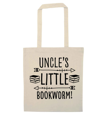 Uncle's little bookworm natural tote bag