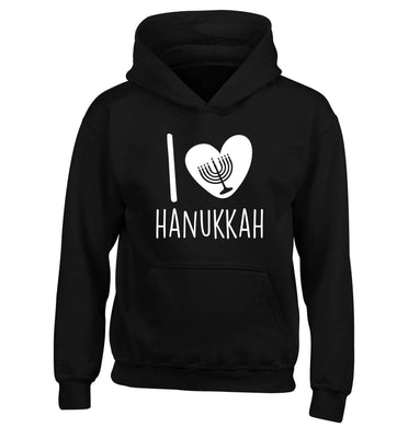 I love hanukkah children's black hoodie 12-13 Years