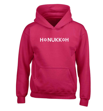 Hanukkah star of david children's pink hoodie 12-13 Years