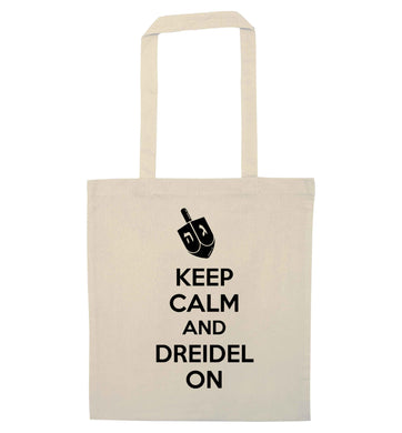 Keep calm and dreidel on natural tote bag