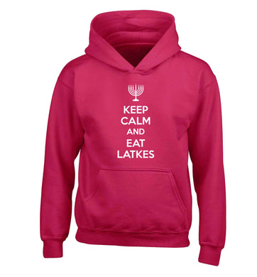 Keep calm and eat latkes children's pink hoodie 12-13 Years
