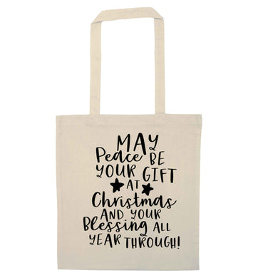 Peace be your Gift at Christmas Gift natural tote bag