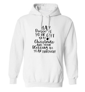 Peace be your Gift at Christmas Gift adults unisex white hoodie 2XL