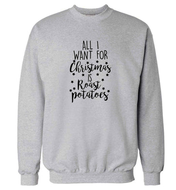 All I want for Christmas is roast potatoes adult's unisex grey sweater 2XL