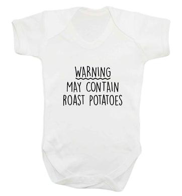 Warning may containg roast potatoes baby vest white 18-24 months