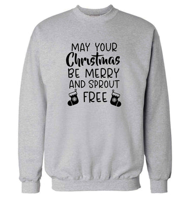 May your Christmas be merry and sprout free adult's unisex grey sweater 2XL