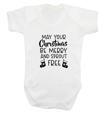 May your Christmas be merry and sprout free baby vest white 18-24 months