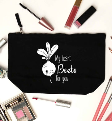 My heart beets for you black makeup bag