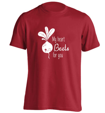 My heart beets for you adults unisex red Tshirt 2XL
