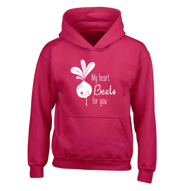 My heart beets for you children's pink hoodie 12-13 Years