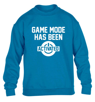 Game mode has been activated children's blue sweater 12-13 Years