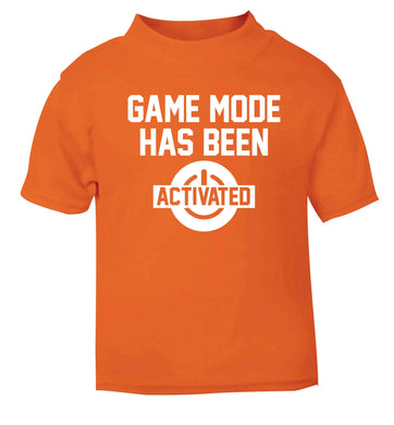 Game mode has been activated orange baby toddler Tshirt 2 Years