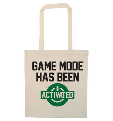 Game mode has been activated natural tote bag