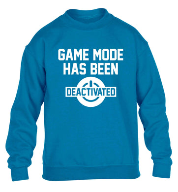 Game Mode Has Been Deactivated children's blue sweater 12-13 Years