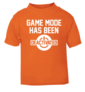 Game Mode Has Been Deactivated orange baby toddler Tshirt 2 Years
