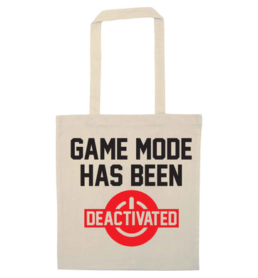 Game Mode Has Been Deactivated natural tote bag