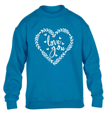 Love you children's blue sweater 12-13 Years