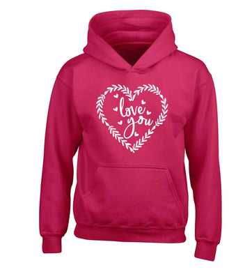 Love you children's pink hoodie 12-13 Years