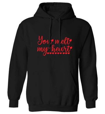 You melt my heart adults unisex black hoodie 2XL