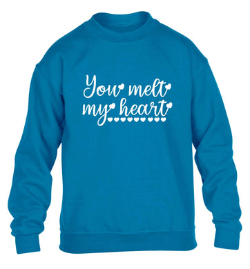 You melt my heart children's blue sweater 12-13 Years