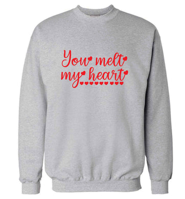 You melt my heart adult's unisex grey sweater 2XL