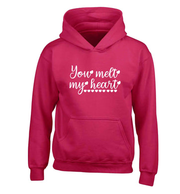 You melt my heart children's pink hoodie 12-13 Years
