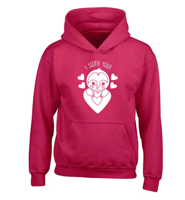I sloth you children's pink hoodie 12-13 Years