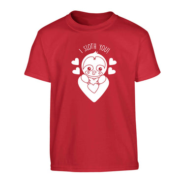 I sloth you Children's red Tshirt 12-13 Years