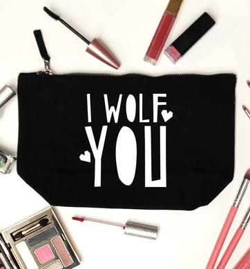 I wolf you black makeup bag