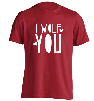 I wolf you adults unisex red Tshirt 2XL
