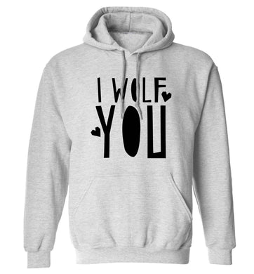 I wolf you adults unisex grey hoodie 2XL