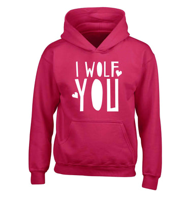 I wolf you children's pink hoodie 12-13 Years