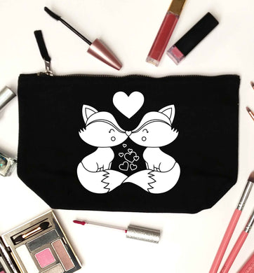 Valentines fox illustration black makeup bag