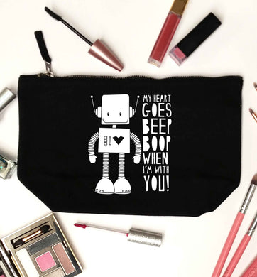 My heart goes beep boop when I'm with you black makeup bag