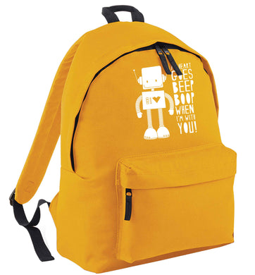 My heart goes beep boop when I'm with you mustard adults backpack