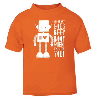 My heart goes beep boop when I'm with you orange baby toddler Tshirt 2 Years