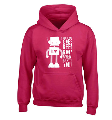 My heart goes beep boop when I'm with you children's pink hoodie 12-13 Years