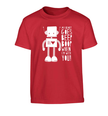 My heart goes beep boop when I'm with you Children's red Tshirt 12-13 Years