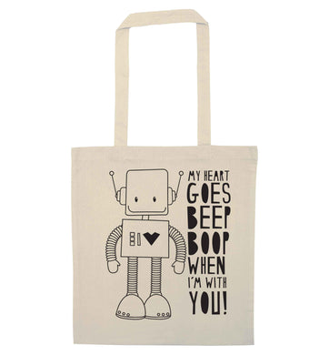 My heart goes beep boop when I'm with you natural tote bag