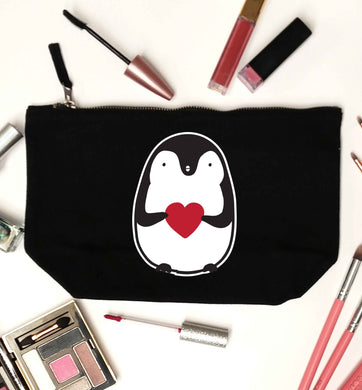 Cute penguin heart black makeup bag