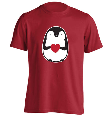 Cute penguin heart adults unisex red Tshirt 2XL