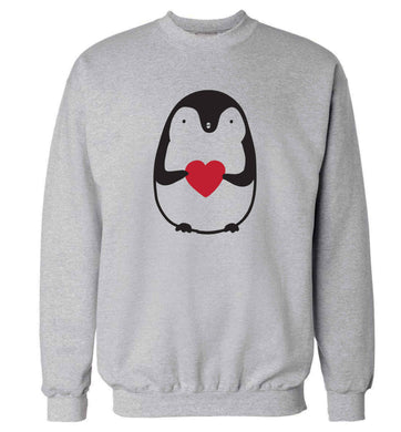 Cute penguin heart adult's unisex grey sweater 2XL