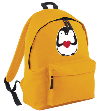 Cute penguin heart mustard adults backpack
