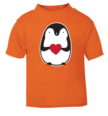 Cute penguin heart orange baby toddler Tshirt 2 Years