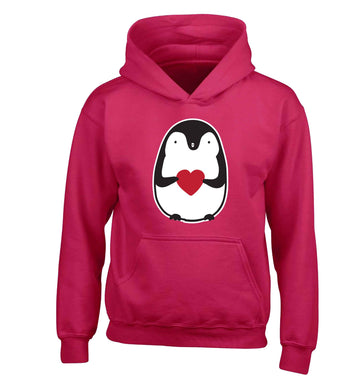 Cute penguin heart children's pink hoodie 12-13 Years