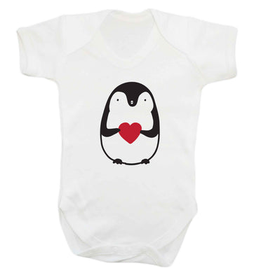 Cute penguin heart baby vest white 18-24 months
