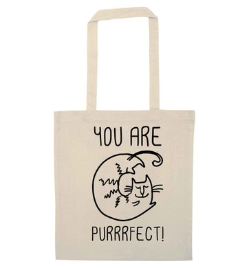 You are purrfect natural tote bag
