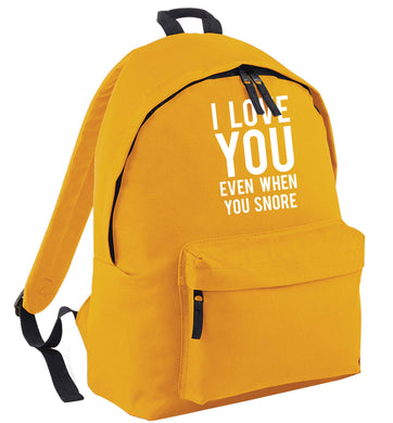 I love you even when you snore mustard adults backpack
