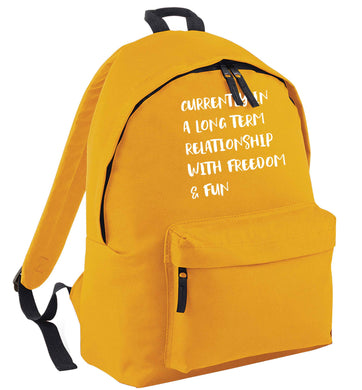 Currently in a long term relationship with freedom and fun mustard adults backpack